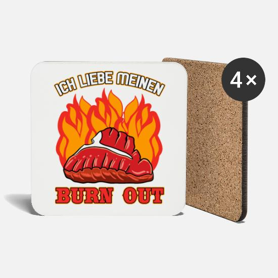 Birthday Mugs & Drinkware - Grill Master Grill Burn Out for Grill Party - Coasters white