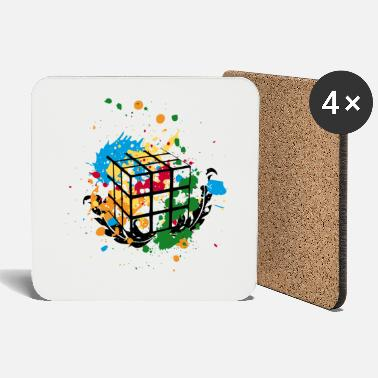 Cube Rubik's Cube Colourful Splatters - Coasters
