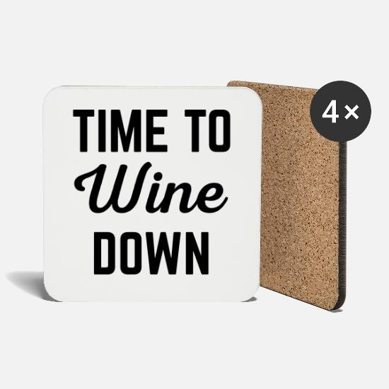 Bestseller Mugs & Drinkware - Wine Down Funny Quote - Coasters white