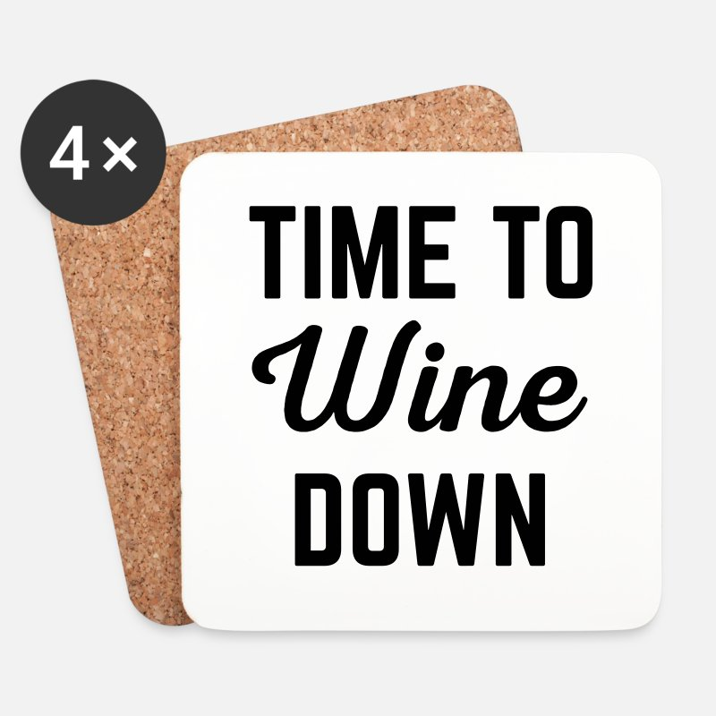 Funny Mugs & Drinkware - Wine Down Funny Quote - Coasters white