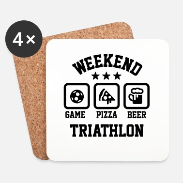 Football Weekend triathlon pizza beer soccer Football  - Dessous de verre (lot de 4)