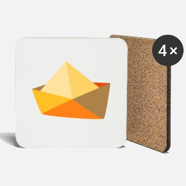 Paper Boat Illustration of yellow paper boat - Coasters