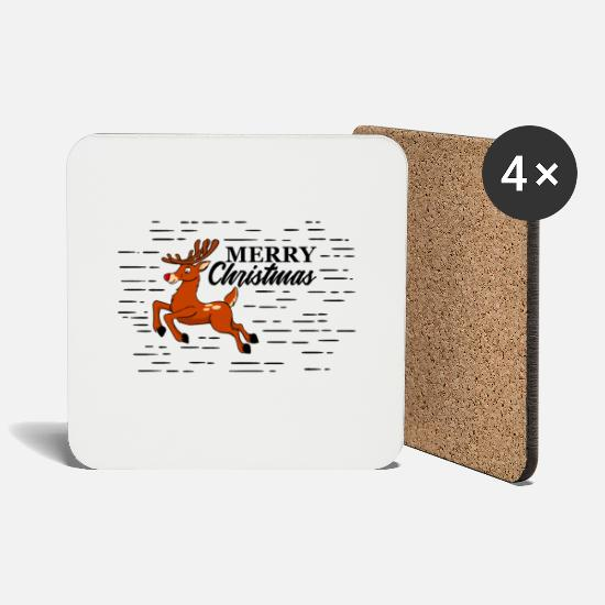 Birthday Mugs & Drinkware - Merry Christmas Rudolph / Christmas - Coasters white
