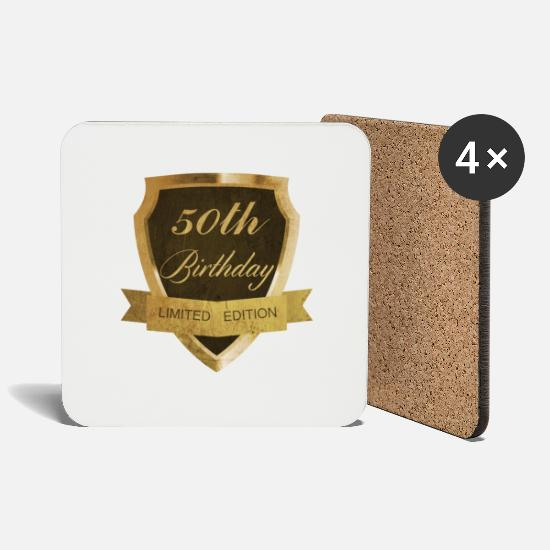 Birthday Mugs & Drinkware - 50th birthday - Coasters white