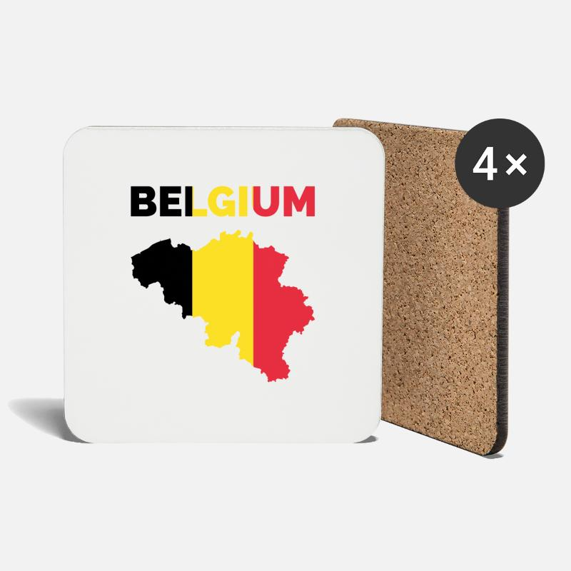 Gift Idea Mugs & Drinkware - Belgium national colors card gift - Coasters white