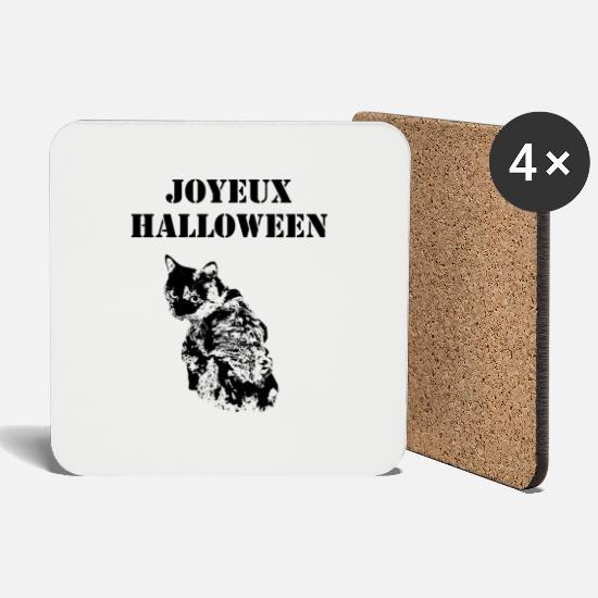 Halloween Sprueche Zombies.Zombie Katze Frohliches Halloween Spruche Untersetzer Spreadshirt