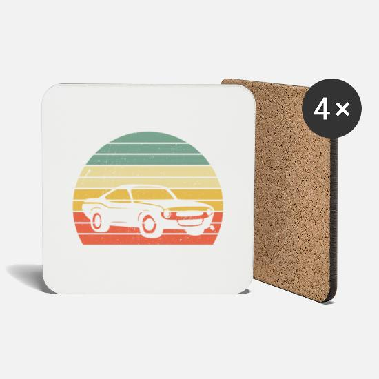 Gift Idea Mugs & Drinkware - Classic Vintage Car V8 Muscle Car Gift - Coasters white