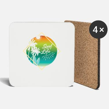 Surfboard sun and palm trees - Coasters