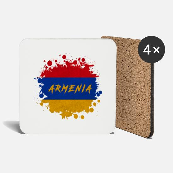 Armenia Mugs & Drinkware - Armenia blob / gift Yerevan flag - Coasters white