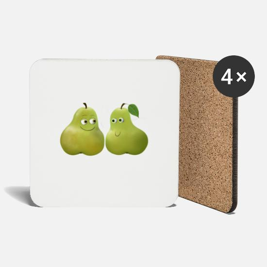 Birthday Mugs & Drinkware - Pears - Two Pears - Coasters white