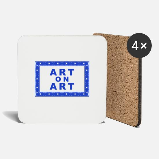 Art Mugs & Drinkware - Art on Art as a Funny Statement Art on Art - Coasters white