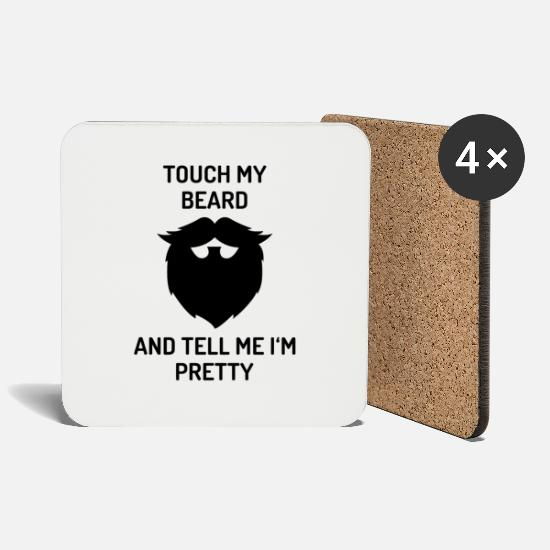 Gift Idea Mugs & Drinkware - Touch my beard and tell me i`m Pretty beard - Coasters white