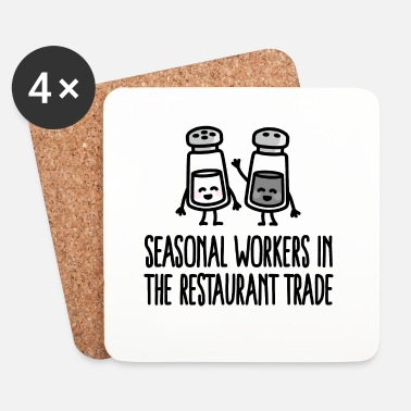 Kawaii Seasonal workers in the restaurant trade cocinero - Posavasos (juego de 4)