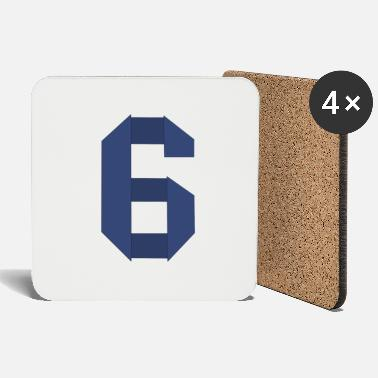 Number Origami number six - number design blue - Coasters