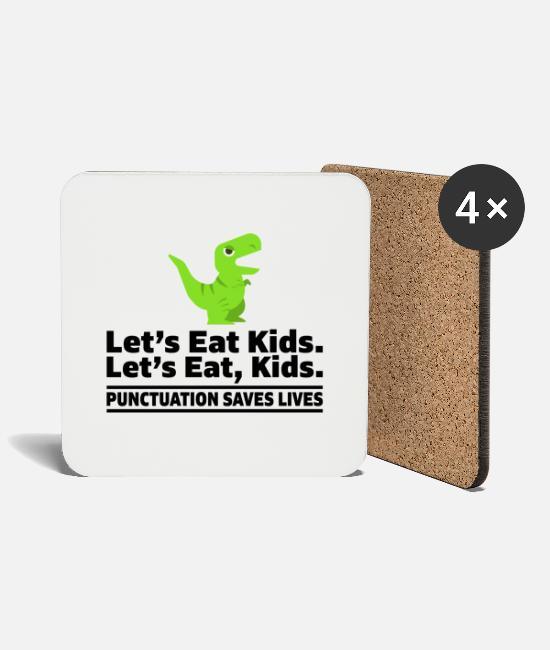 Professor Mugs & Drinkware - Let's eat kids punctuation saves lives teachers - Coasters white