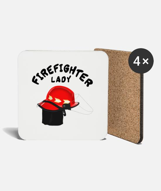 Fire Department Mugs & Drinkware - Female Firefighter Firefighters - Lady - Coasters white