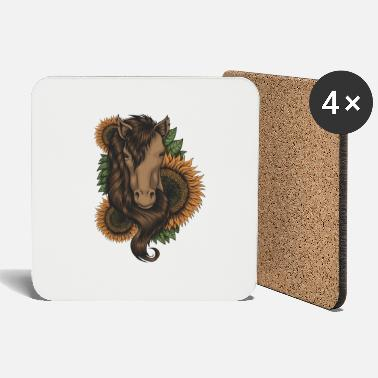 Horse Fan Horse head with sunflower frame for horse fans - Coasters