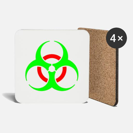 Symbol  Mugs & Drinkware - Biohazard virus disease organic symbol sign gift - Coasters white