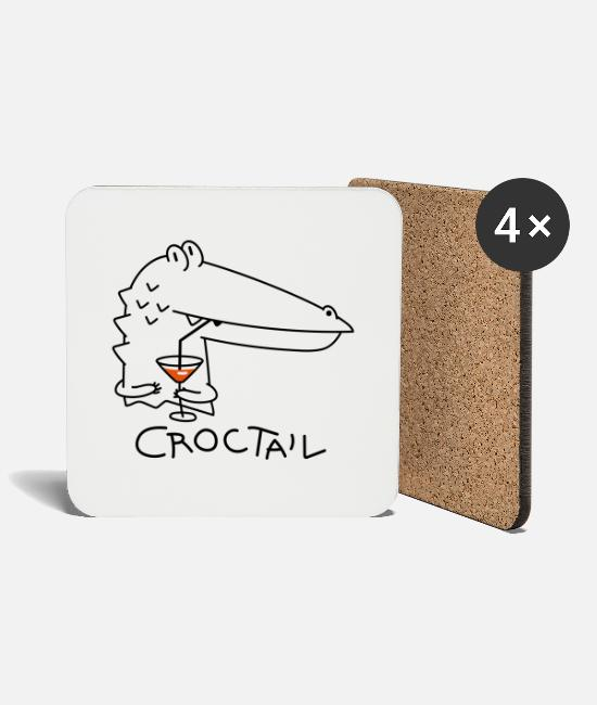 Celebrate Mugs & Drinkware - Funny crocodile with coctail (b) - Coasters white