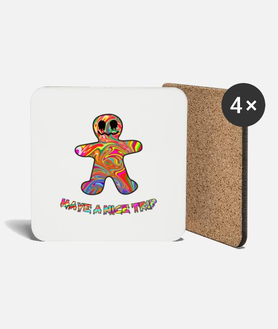 Trippy Mugs & Drinkware - Psychedelic Gingerbread Man Trippy Acid Pop Art - Coasters white
