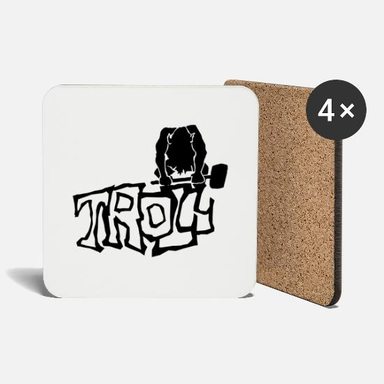Provocation Mugs & Drinkware - Troll - Coasters white