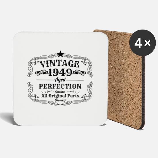 Vintage 1949 I 70 Geburtstag Opa Oma Geschenk Untersetzer 4er Set Weiß