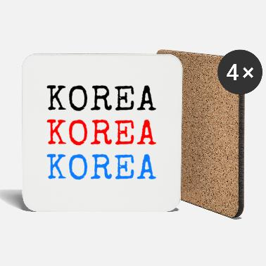 Language Korea - Black Red Blue - Coasters