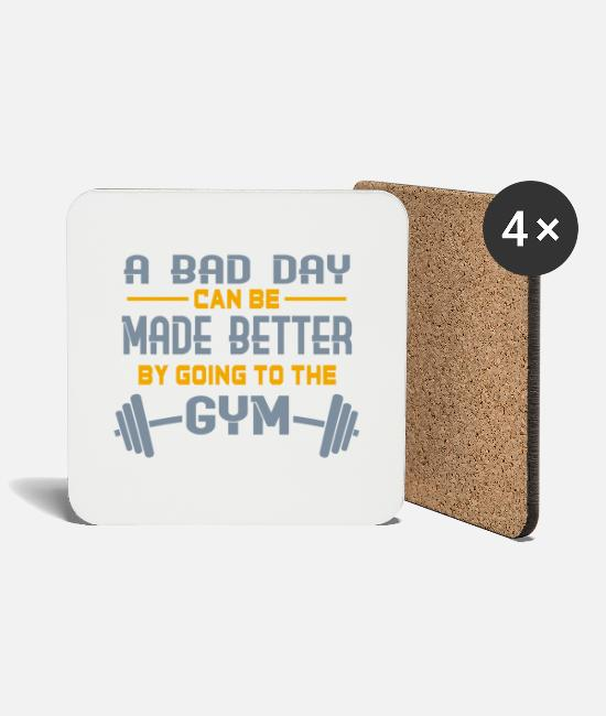 Muscular Mugs & Drinkware - Funny fitness weight training bodybuilding gift - Coasters white