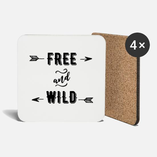 Wild Cat Mugs & Drinkware - Free and Wild - Coasters white