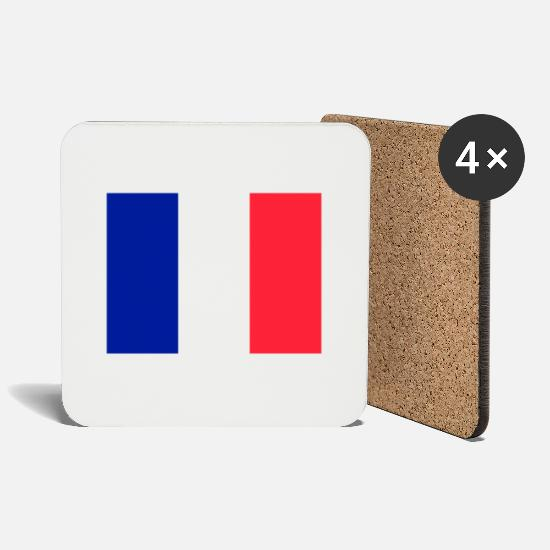 French Flag Mugs & Drinkware - France flag flag - Coasters white