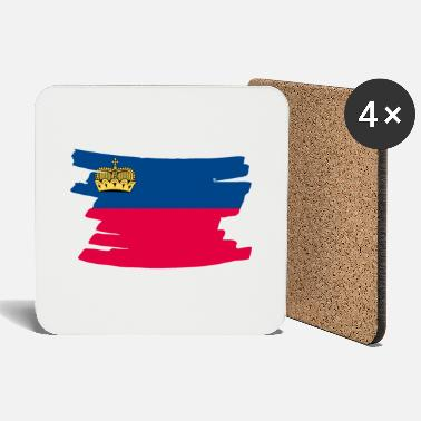 Wealth Liechtenstein National Flag - brush horitontal - Coasters