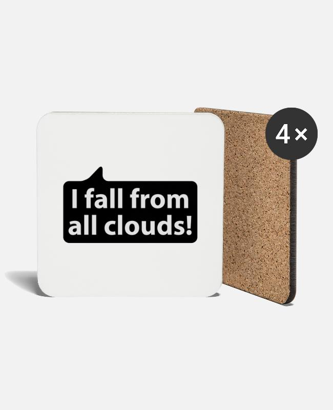 Quote Mugs & Drinkware - I fall from all clouds | german phrases - Coasters white
