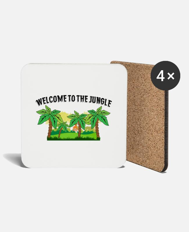Monkey Mugs & Drinkware - Welcome to the Jungle - Coasters white