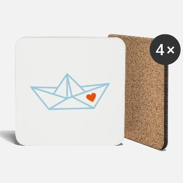 Paper Boat Paper boat with heart - Coasters