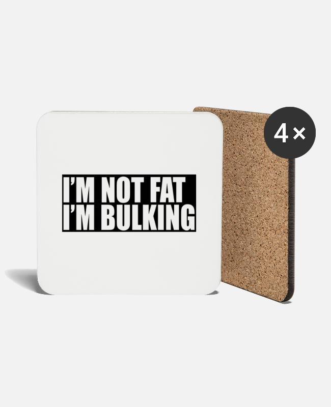 Training Mugs & Drinkware - I'm not fat, I'm bulking - Coasters white