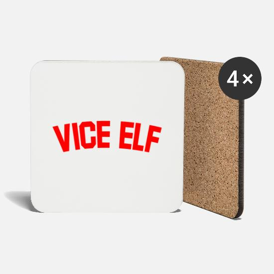 Santa Mugs & Drinkware - Vice Elf Christmas Gifts for Mum, Dad, Employee... - Coasters white