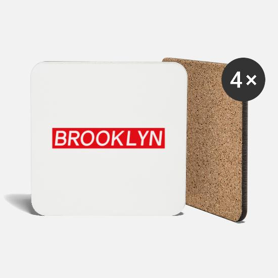 Red Mugs & Drinkware - Easy Brooklyn - Coasters white