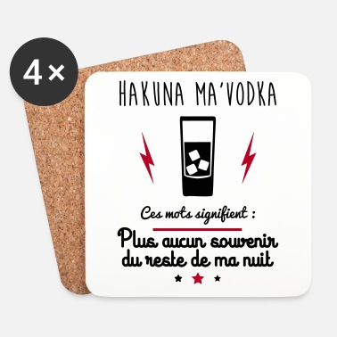 Original Hakuna ma vodka, cadeau vodka, alcool - Dessous de verre (lot de 4)