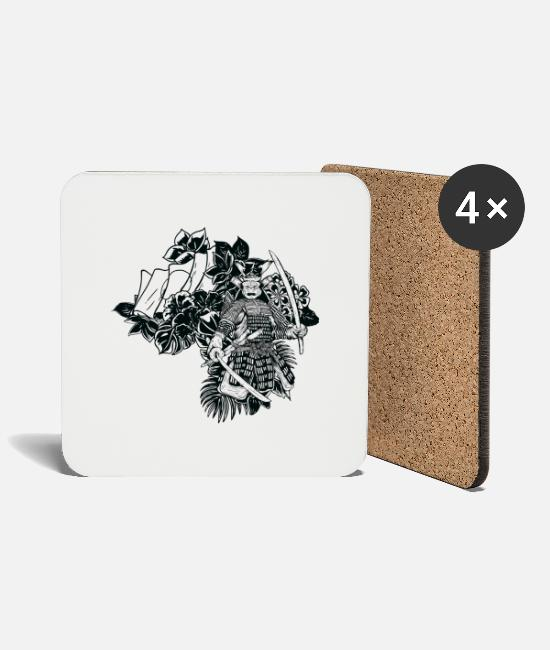 Flowers Mugs & Drinkware - samurai - Coasters white
