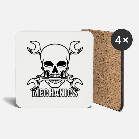 Occupation Mugs & Drinkware - Mechanics Skull - Occupation Design Shirt Gift - Coasters white