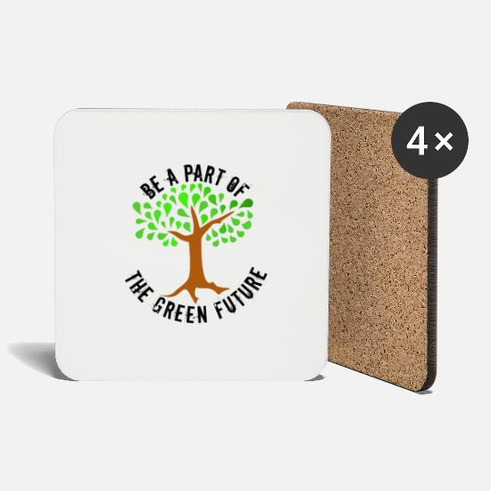 Enviromental Mugs & Drinkware - Green Future black, Fridays for future, - Coasters white