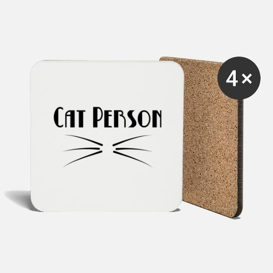 Mustache Mugs & Drinkware - Typography Cat Person - Coasters white
