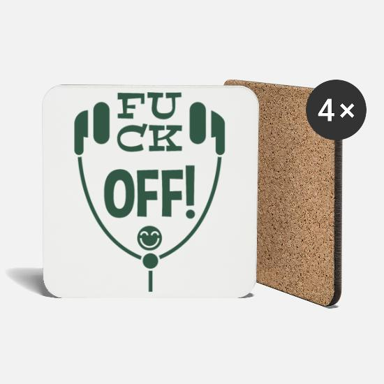 Offensive Mugs & Drinkware - Fuck off green - Coasters white