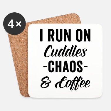 Chaos Cuddles, Chaos & Coffee Funny Quote - Dessous de verre (lot de 4)