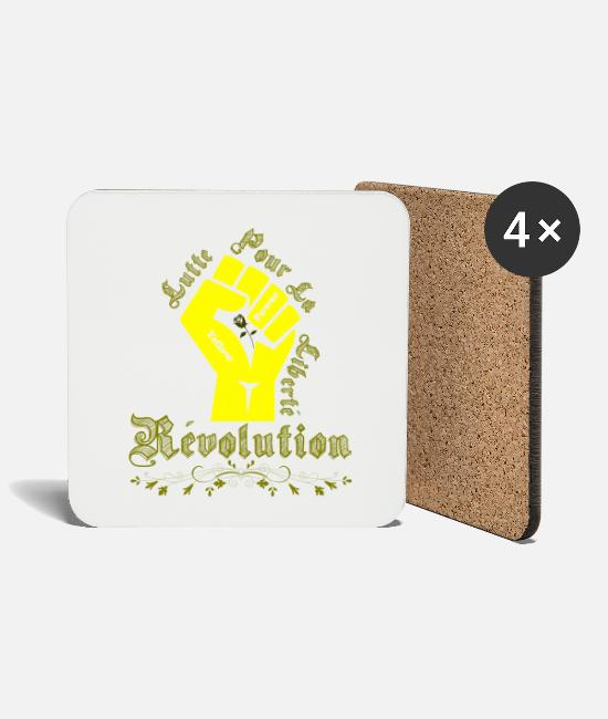 Politics Mugs & Drinkware - Yellow West Revolution - fight for freedom - Coasters white