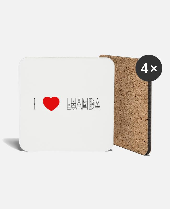 I Love Mugs & Drinkware - i love Luanda - lettering black - Coasters white