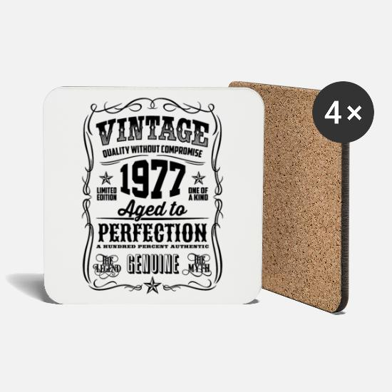 Birthday Mugs & Drinkware - Vintage 1977 Aged to Perfection black - Coasters white