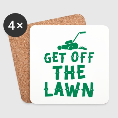 get off the lawn with lawn mower - Coasters (set of 4)