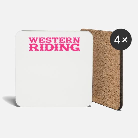 Horseriding Mugs & Drinkware - Western Riding - Coasters white