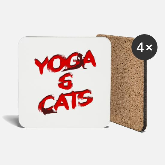 Yogi Mugs & Drinkware - Yoga & Cats - spiritual typography - Coasters white